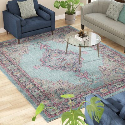 Bunn Light Blue/Navy Area Rug Rug Size: Rectangle 8 x 10