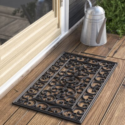 Calles Scroll Floral Doormat Rug Size: Rectangle 16 x 26