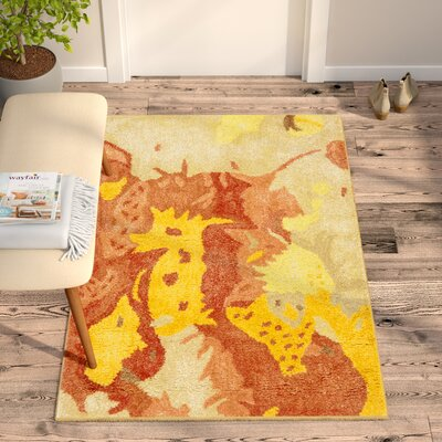 Freda Beige & Orange Area Rug Rug Size: Square 6