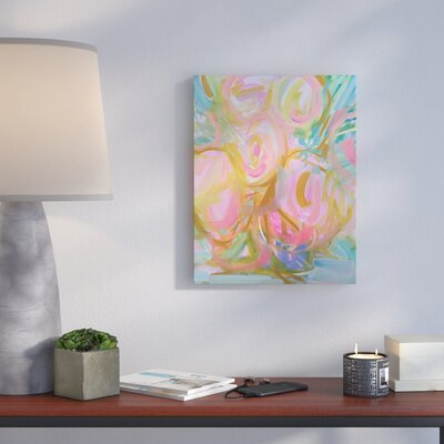 'Watercolor Pink Roses' Watercolor Painting Print on Wrapped Canvas Size: 14