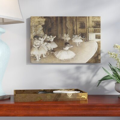 'Ballet Rehearsal' by Edgar Degas Framed Oil Painting Print on Wrapped Canvas Size: 12