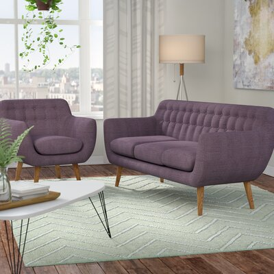 Martinique 2 Piece Living Room Set Upholstery: Purple