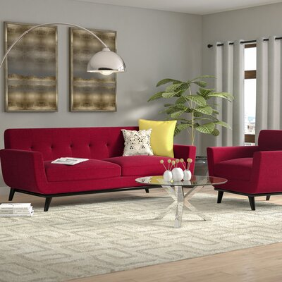 Amber 2 Piece Living Room Set Upholstery: Red