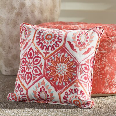 Alina Outdoor Pillow Color: Pink / Orange / Turquoise / White