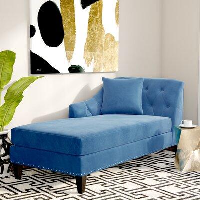 Macdonald Velvet Chaise Lounge Upholstery: Teal