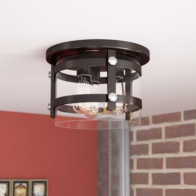 Daniel 3-Light Flush Mount Finish: Black/Polished Chrome