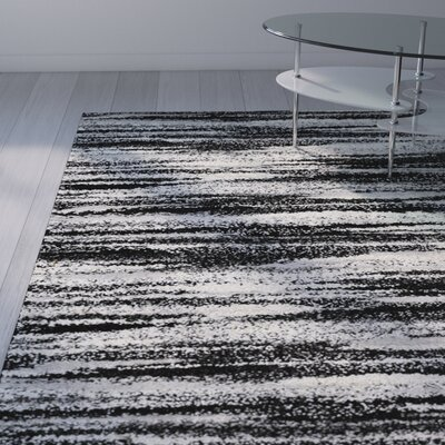 Marlinton Black/Cream Area Rug Rug Size: 8 x 10