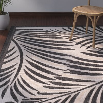 Bridgeville Tropic Palm Silhouette Area Rug Rug Size: Rectangle 53 x 77