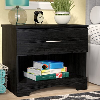Poulson 1 Drawer Nightstand Color: Black