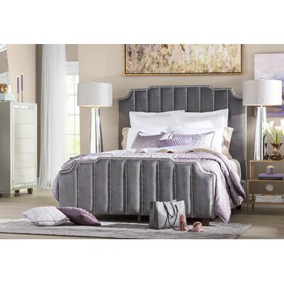 Elof Velvet Panel Headboard Color: Gray, Size: Queen