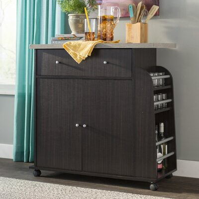 Stockbridge Kitchen Island with Spice Rack and Towel Rack Base Finish: Chocolate/Gray
