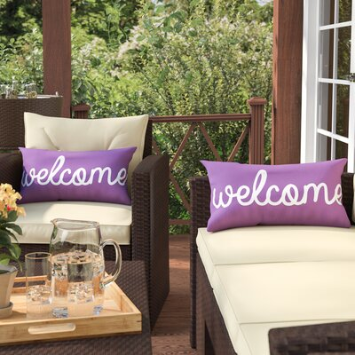 Cheree Welcome Outdoor Lumbar Pillow (Set of 2) Color: Purple