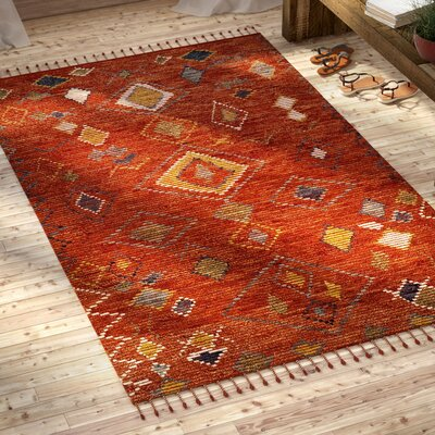 Glenoe Hand-Knotted Red Area Rug Rug Size: Rectangle 5 x 8