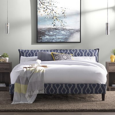 Edford Seamed Crossweave Upholstered Platform Bed Size: Queen