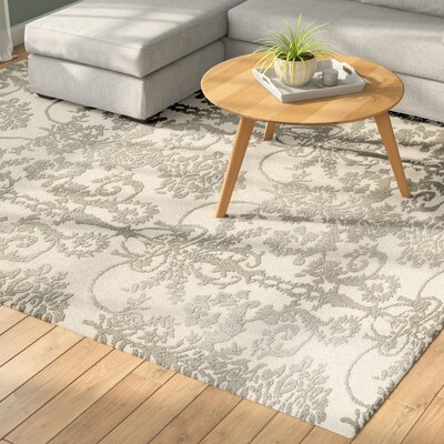 Dickinson Hand-Tufted Ivory/Gray Area Rug Rug Size: Round 5