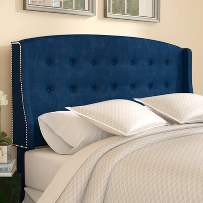 Mali Tufted Upholstered Wingback Headboard Upholstery: Navy