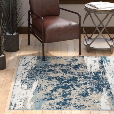 Rockford Blue/Taupe Area Rug Rug Size: Rectangle 52 x 72