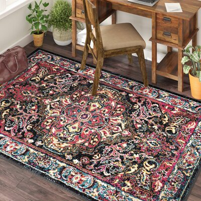 Antoine Black/Red Area Rug Rug Size: Rectangle 8 x 10