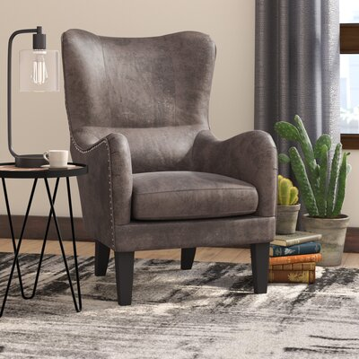 Rockport Hi-Back Studded Wingback Chair Upholstery: Gray Brown