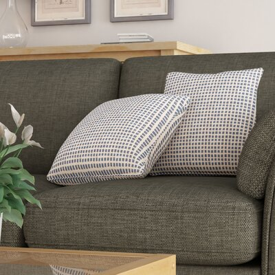 Protege Grid Linen Throw Pillow Color: Ivory, Size: 18 x 18