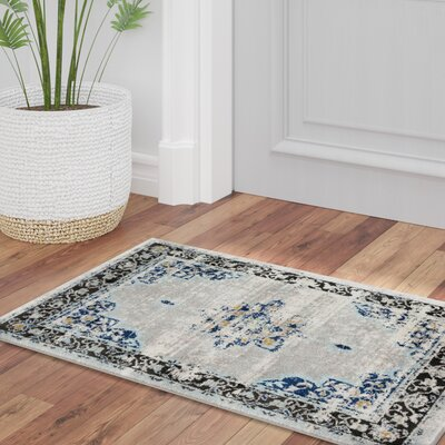 Ingram Dark Blue/Aqua Area Rug Rug Size: Rectangle 53 x 73