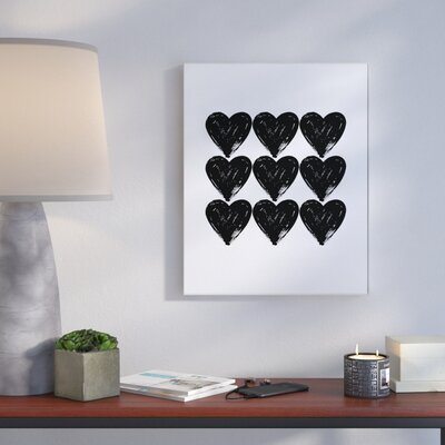 Hearts Black And White Glam' Graphic Art Print Format: Plaque, Size: 10