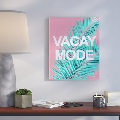 'Vacay Mode Neon Palm Leaf' Graphic Art Print Format: Plaque, Size: 10