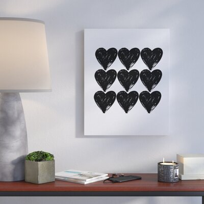 Hearts Black And White Glam' Graphic Art Print Format: Canvas, Size: 20