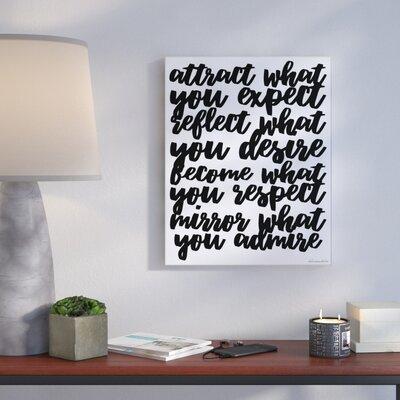 'Mirror What You Admire Cursive' Textual Art Format: Plaque, Size: 10