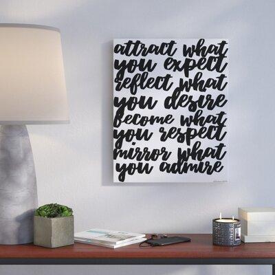 'Mirror What You Admire Cursive' Textual Art Format: Canvas, Size: 20