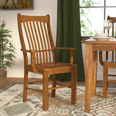 Corwin Slatback Solid Wood Dining Chair (Set of 2) Arm Chair Finish: Mission Oak