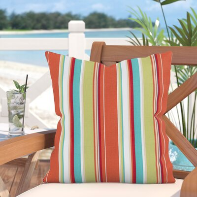 Elyza Outdoor Throw Pillow Size: 16 H x 16 W x 6 D, Color: Orange/Green
