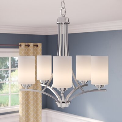 Bainsby 5-Light Shaded Chandelier Finish: Satin Nickel