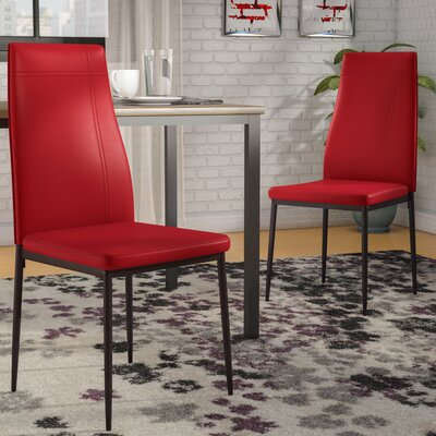 Cerise Upholstered Wood Dining Chair Color: Red