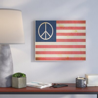 'Peace American Flag' Graphic Art Print Format: Plaque, Size: 10