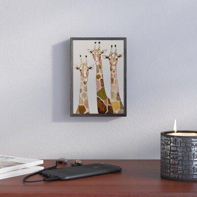'Three Giraffes on Cream' Framed Acrylic Painting Print on Canvas VRKG4938 40412116