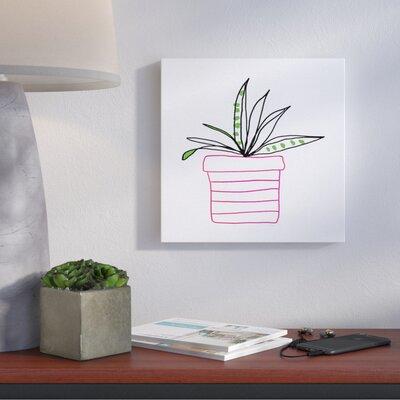 'Pink Pot Succulent Line' Print Format: Canvas, Size: 17