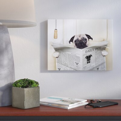 'Pug Reading Newspaper in Bathroom' Wall Art Format: Canvas, Size: 16'' H x 20'' W