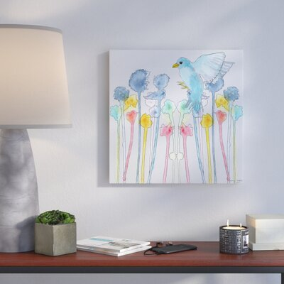 'Wildflowers with Bird' Print on Wrapped Canvas Size: 14