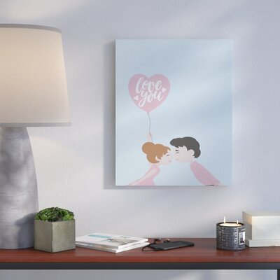 'Love You Balloon' Graphic Art Print on Canvas Size: 10