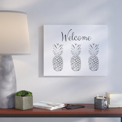 'Welcome Pineapple Line' Drawing Print Format: Canvas, Size: 16