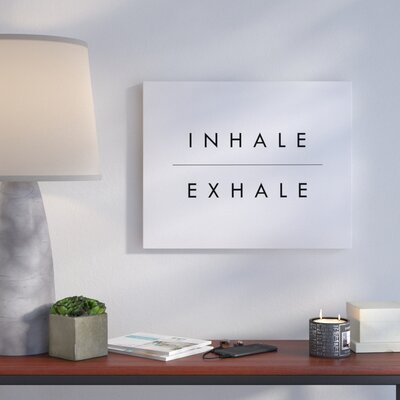 'Inhale' Textual Art on Canvas