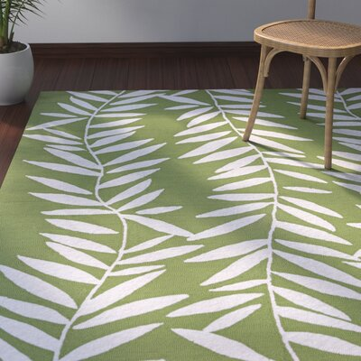Wallingford Hand Hooked Lime/White Indoor/Outdoor Area Rug Rug Size: Rectangle 36 x 56