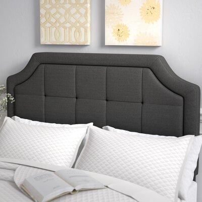 Fleurette Scoop-Edge Upholstered Panel Headboard Size: Queen, Upholstery: Charcoal