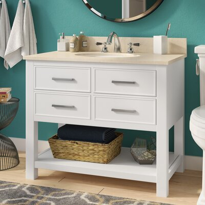 Martina 37 Single Modern Bathroom Vanity Set Base Finish: White, Top Finish: Galala Beige