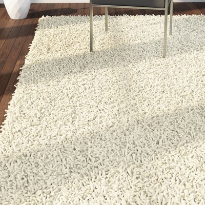 Shag Hand-Tufted Cream Area Rug Rug Size: 8 x 10
