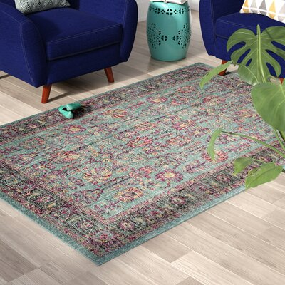 Bunn Light Blue/Black Area Rug Rug Size: Rectangle 51 x 76