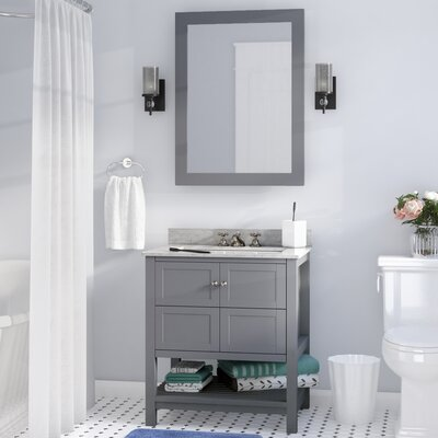 Cline 30 Single Bathroom Vanity Set With Mirror Base Finish: Gray