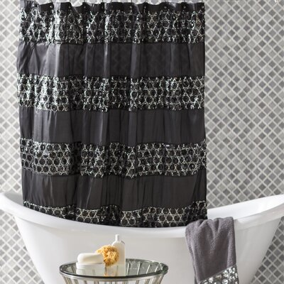 Rivet Striped Shower Curtain Color: Black