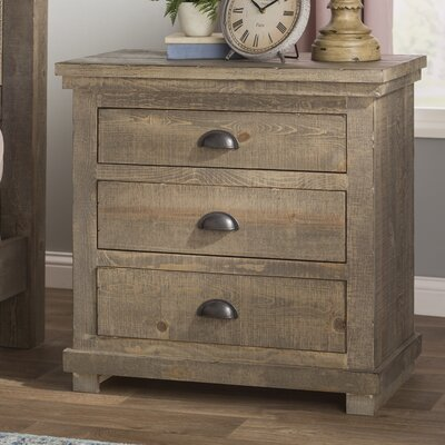 Castagnier 3 Drawer Night Stand Color: Weathered Grey